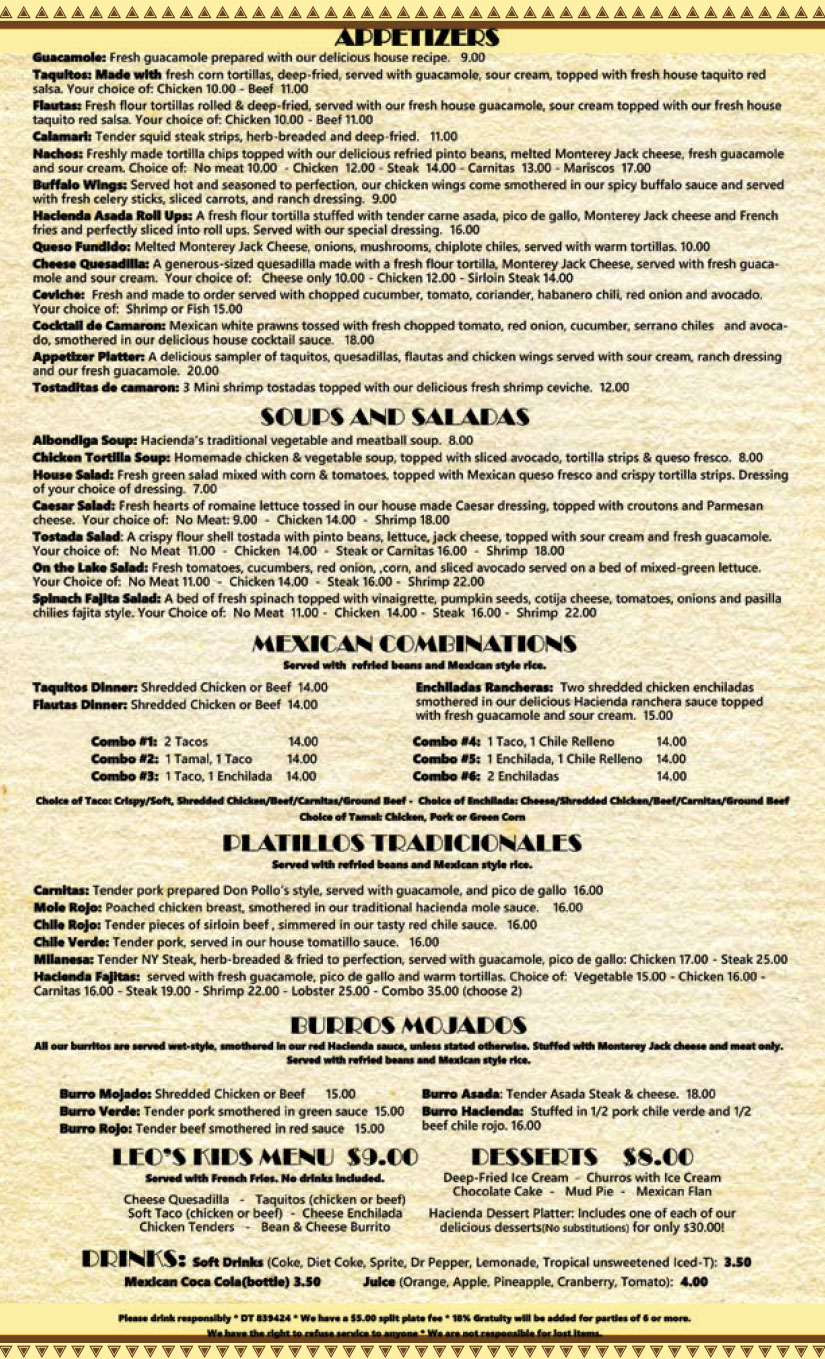 Hacienda on the Lake Menu